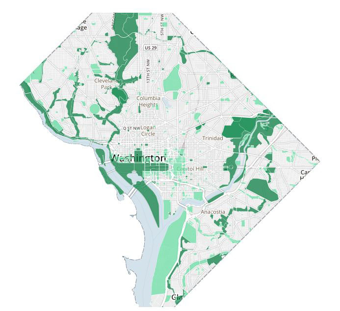 Washington DC map of where Marijuana still illegal on federal land ...