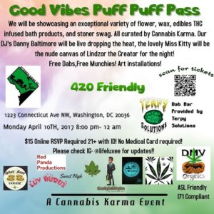 Good Vibes Puff Puff Pass Hosted by Cannabis Karma - April 10 2017