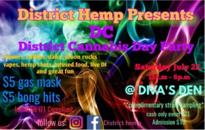 DC District Cannabis Day Party hosted by District Hemp - July 22 2017