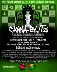 CAPS League Presents: Canna-Blitz Chess Tournament at The Peace House DC - September 21 2017
