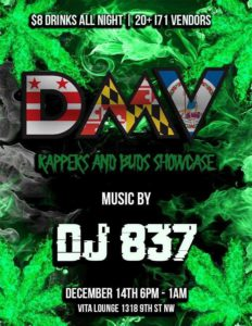 DMV Rappers and Bud Showcase (DC) December 14 2017