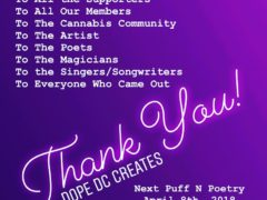 Puff N Poetry Hosted by Dope DC Creates Events (DC) April 8 2018