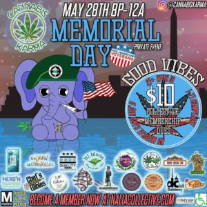 Good Vibes Memorial Day Hosted by Cannabis Karma (DC) May 28 2018