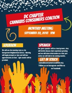 CCC September Meeting by Cannabis Consumers Coalition (DC) September 22 2018