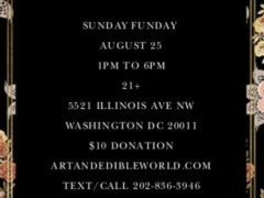 Art & Edible World Sunday Funday (DC) August 25 2019