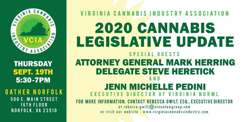 2020 Cannabis Legislative Update and Norfolk Preview (VA) September 19 2019