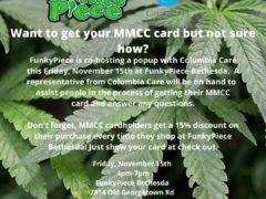 FunkyPiece is co-hosting a popup with @columbiacaremd for MMCC card registration (MD) November 15 219